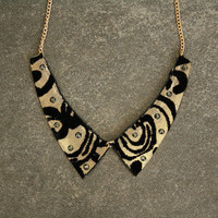 Collar Necklace Gold and Black Lace Velvet Decorated with Cut Glass Crystals Black Diamond