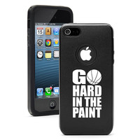 For iPhone 4 4s 5 5s 5c Dual Layer Aluminum Silicone Hard Case Cover Black Blue Red Green Silver Pink Purple Go Hard In the Paint Basketball