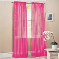 """2 Piece Solid Hot Pink Sheer Window Curtains/drape/panels/treatment 60""""w X 84""""1"""