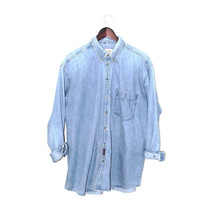 pale chambray shirt 80s vintage minimalist light wash denim unisex button up shirt medium
