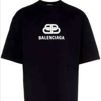 Free shipping-BALENCIAGA chest classic double B letter half sleeve t-shirt
