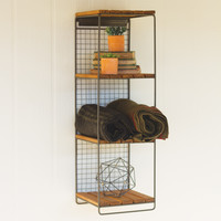 Hanging Honey Wood & Metal Wall Shelf with Four Levels