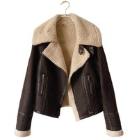 Partiss Women Winter Faux Suede Leather Motorcycle Jacket XS Brown