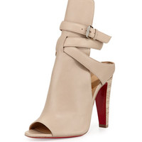 Christian Louboutin Hippik Napa Leather Red Sole Bootie, Colombe/Grezzo