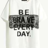 White Short Sleeve Lace Letters Print Graphic T-Shirt