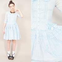 VINTAGE 90s sheer blue ruffles victorian dolly japan made pastel lolita harajuku kawaii mini dress