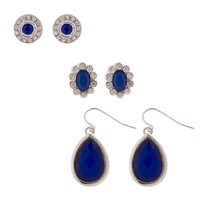 Rhinestone and Blue Crystal Stud and Drop Earrings Set of 3