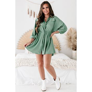 Besotted With You Button-Down Drawstring Waist Mini Dress (Dusty Green)