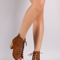 Suede Open Toe Lace-Up Chunky Heeled Ankle Boots