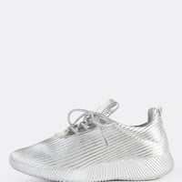 Reflective Ribbed Lace Up Sneakers