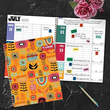 July 2021-June 2022 Folky Floral Print Large Daily Weekly Monthly Planner + Coordinating Planning Stickers