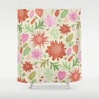 tropical flowers Shower Curtain by Je Suis Un Lapin