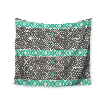 "Pom Graphic Design ""Going Tribal"" Gray Green Wall Tapestry"