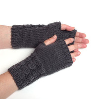 dark gray gloves gift for him knitted arm warmers womens gift knit mittens merino wool Fingerless Gloves knit  winter accessories