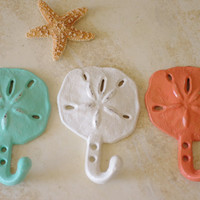 Beach Decor Cast Iron Sand Dollar Wall Hook  - PICK YOUR COLOR