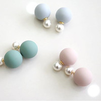 Front and Back Pastel ball and pearl ear jacket, pearl balls ear jacke