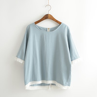 Tassel Trimmed Short Sleeve Cotton Shirt
