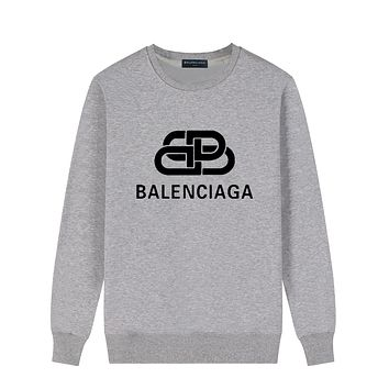 Balenciaga Fashion Women Men Casual Print Long Sleeve Sweater Sweatshirt Grey