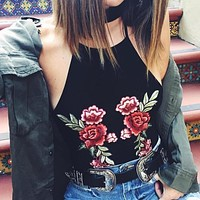 Rose Embroidered Halter Top