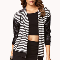 Striped Faux Leather Zip Up Hoodie   FOREVER 21 - 2061992617