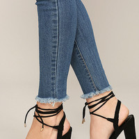 Elle Black Suede Lace-Up Heels