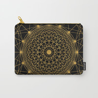 Geometric Circle Black and Gold Carry-All Pouch by Fimbis
