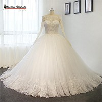 Luxury Full Pearls Wedding Dress Long Sleeves Ball Gown 2016 Wedding Dresses