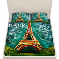 Paris Bed Sheets by TeshiaArt