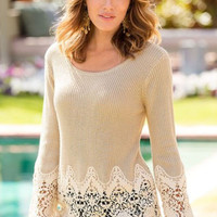 Khaki Floral Lace Splice Knitted Pullover Sweater