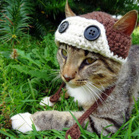 Aviator Cat Hat Dog Hat -  Aviator Cat Dog Costume - Pilot Hat Costume for Cats and Small Dogs