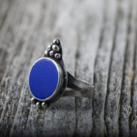 Lapis Sterling Silver Ring Any Size Cobalt Blue Natural Lapis stone handmade ring with decoration Un dyed natural color Afghan Lapis