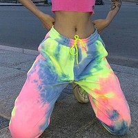 Neon Tie Dye Joggers High Waist Long Baggy Pants Women Sweatpants Loose Trousers Streetwear Clothes