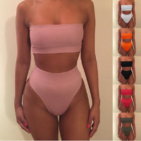 Newest 2017 Strapless Sexy Bikini Set Push-up Padded Swimsuit Bathing Swimwear Suit For Women S-XL 7 Colors High Quality Biquini