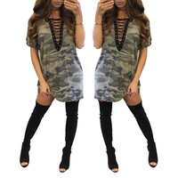 Lace-Up Curved Hem Camo Shirt
