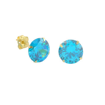 10k Yellow Gold Blue Topaz CZ Stud Earrings Cubic Zirconia Round Prong Set