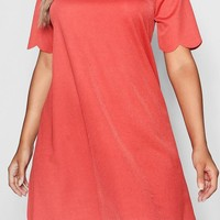 Plus Scallop Edge Shift Dress | Boohoo