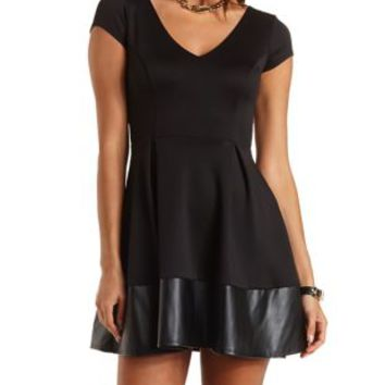 Faux Leather Trim Skater Dress by Charlotte Russe - Black