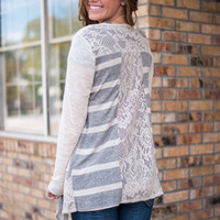 Check Me Out Cardigan, Cream/Grey