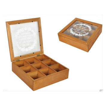 Zakka Retro Vintage 9 Cabinets Jewelry Storage Wooden Box Clear Cover    Yellow petals