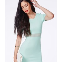 Missguided - Mikayo Mint Bodycon Dress With Mesh Detail