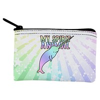 My Spirit Animal Narwhal Unicorn Of The Sea Pastel Coin Purse