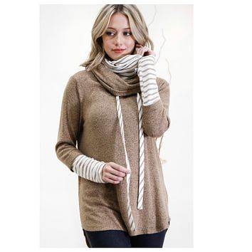 Double Layered Mock Neck Taupe Sweater Top