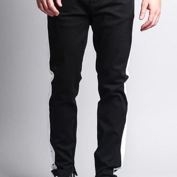 Men's Solid Side Striped Pants with Zipper