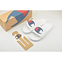 Champion Life Youth Slide Sandals Repeating Logo White-1