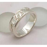 Sterling Silver Traditional Hawaiian Ring With Honu (Flat )
