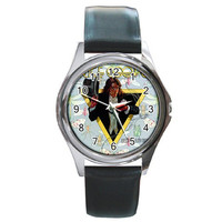 Alice Cooper Welcome To MY NIGHTMARE Round Metal Watch Leather Band