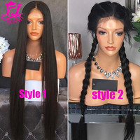 Silky Straight Full Lace Human Hair Wigs For Black Women Glueless Full Lace Front Wigs