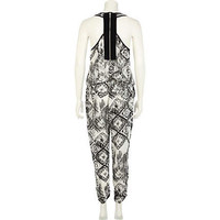 Black and white tribal print waisted jumpsuit - jumpsuits - playsuits / jumpsuits - women
