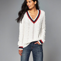 Womens Cable-Knit V-Neck Sweater | Womens New Arrivals | Abercrombie.com