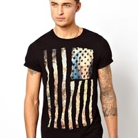 ASOS T-Shirt With Renaissance Flag Print And Roll Sleeve - Black